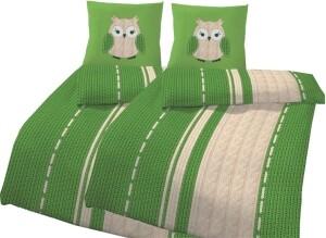 """4-teilige Bettwäsche """"Eule Strick"""" grün, 135x200cm, Biber"""