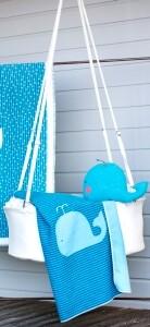 Babydecke Wal Streifen 70 x 90 cm blau