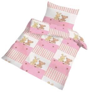 Baby Bettwäsche Häschen rosa 100 x 135 cm Biber