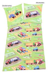 Kinder Bettwäsche Traktoren, 135x200cm, Renforce