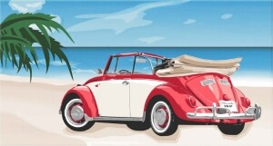 Velours-Strandtuch VW Käfer Kabrio, rot