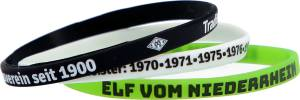 Borussia Mönchengladbach Silikon-Armbänder 3er-Set, ca. 18 cm, schwarz weiß grün
