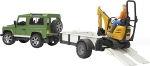 Bruder Profi-Serie Land Rover Defender, Einachsanhänger, JCB Mikrobagger und Bau