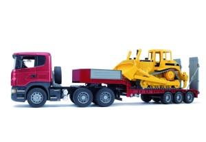 BRUDER Scania Tieflader mit Bulldozer