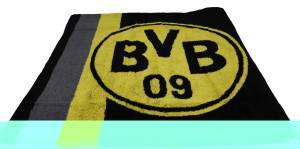 BVB Borussia Dortmund Badetuch Logo im Streifenmuster