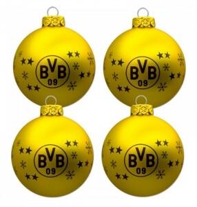 BVB Borussia Dortmund Weihnachtskugeln 4er Set 7,5 cm