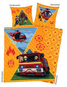 Feuerwehrmann Sam Bettwäsche 135x200cm gelb, Flanell