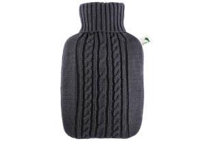 Hugo Frosch Wärmflasche Strick 25 x 19,5 cm 1,8l schwarz