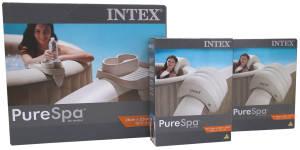 Intex PureSpa Whirlpool Set mit 2 Kopfschützen und 1 Getränkehalter, mit Targit-Glider