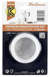 Krüger  Espressobereiter Ersatzteil-Set 1 Filter, 3 Ringe 6Tassen