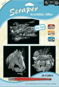 Kratzbilder 3er Set Silberfarben Pferde 20x25,5 cm