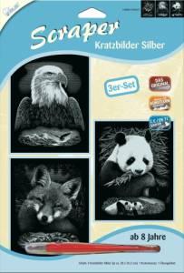 Kratzbilder 3er Set Silberfarben Wildtiere 20x25 cm