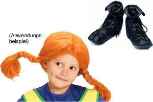 Pippi Langstrumpf Stoff-Schuhe und Perücke