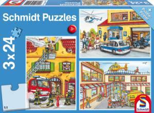 Puzzle Feuerwehr und Polizei; 3x24 Teile