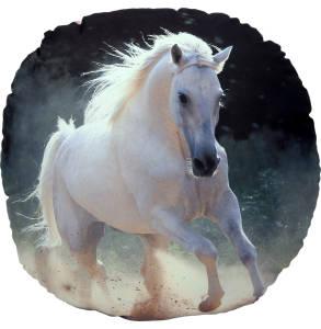 VonBueren Kissen Pferd mit Wendemotiv Schimmel, rund 50 cm