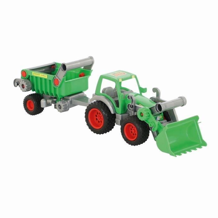WADER Farmer Technik Traktor, mit Frontlader und Anhänger